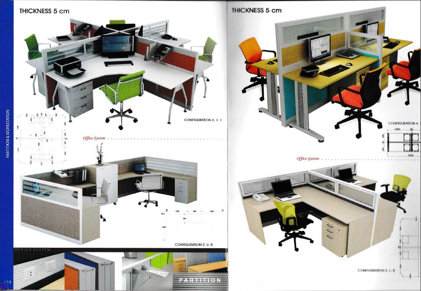 Indachi Workstation 2 Partisi Ruang Kantor