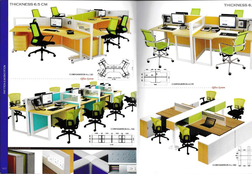 Indachi Workstation 3 Partisi Ruang Kantor