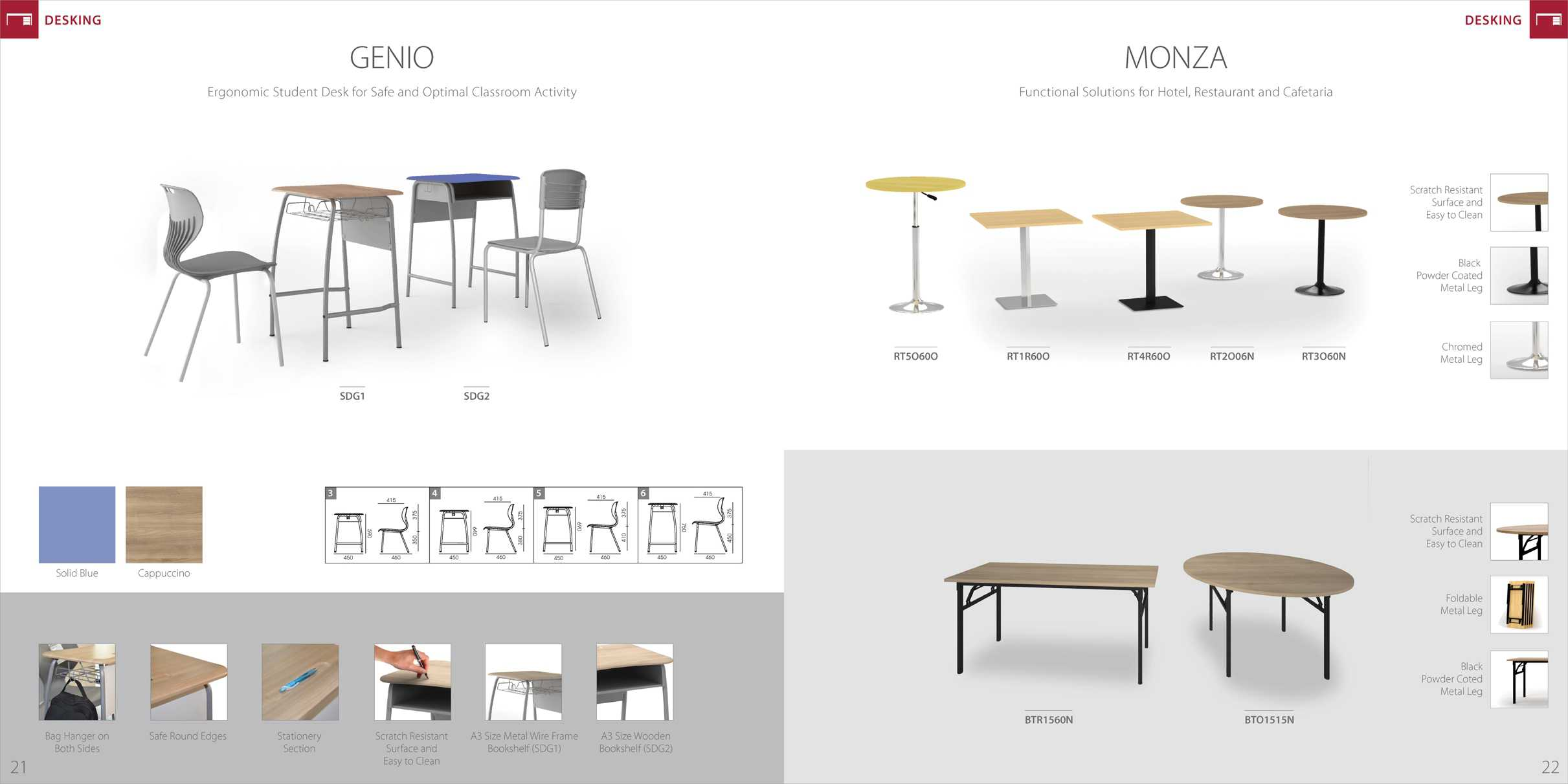 HIGHPOINT Meja Cafe School Desk Meja Kerja & Meeting